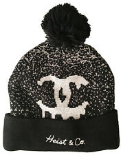 Heist & Co. Black Grey Make It Snow CoCo Fold Pom Beanie Winter Hat NEW