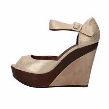 scarpe donna CARMENS 42 EU sandali zeppe platino pelle scamosciata AF496-E