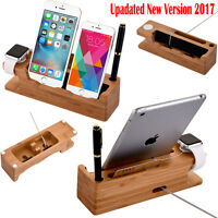 Bamboo Charger Dock Station Stand Holder Fr Apple Watch iWatch iPhone iPads