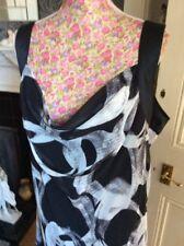 Jacques Vert Black Circles Silk Trim Dress Size 20 Pristine Hols 11/9-18.10
