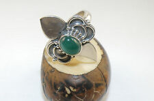Fashion Women 925 Sterling Silver Ring With Oval GREEN ONYX Stone Size 9.75