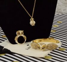 Kate Spade Star Bright White Owl Gold Bracelet Bangle Cuff Ring 7 and Necklace