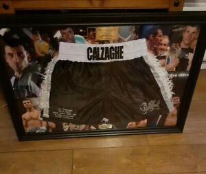 Joe Calzaghe hand Signed Autograph Framed Trunks Shorts Not Glove