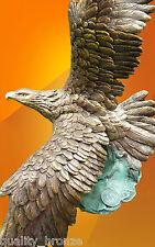 EAGLE IN FLIGHT, PURE BRONZE STATUE BIRD FIGURINE FIGURE HOT CAST SCULPTURE