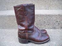 Vintage Durango Campus Riding Biker Motorcycle Brown Leather Men's Boots Size 7