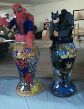 Batman AND Spiderman BellyWasher reusable drink bottles 2001 empty 12 oz