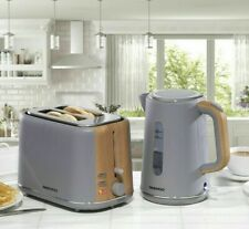Daewoo Stockholm 2 Slice Toaster & Cordless Kettle Set Matte Grey & Wood Finish
