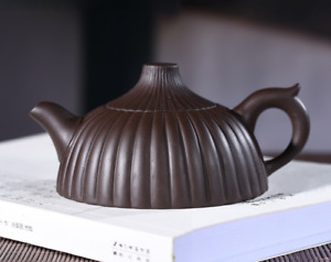 Chinese Yixing Zisha Pottery 200cc Purple Clay Teapot Handmade Stripe Pot (筋囊壶)