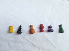 Vtg 1954 Monopoly Wooden Replacement Pieces 6 Wooden Token Pieces Used Cond.