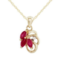 9ct Yellow Gold 0.41ct Natural Ruby & Diamond Floral Gemstone Pendant on Chain