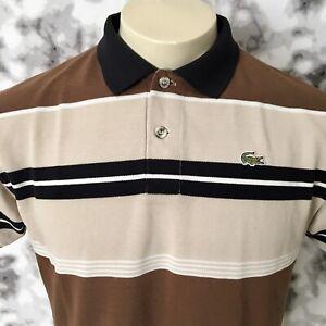 Vtg Chemise Lacoste Short Sleeves Men's Polo Shirt Sz 5 Striped MADE IN FRANCE.