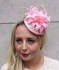 Or Rose Blush Rose Clair paillettes et Plumes Fleur Fascinator chapeau Pince à cheveux 3557