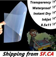 "8.5"" x 11"" Waterproof Inkjet Transparency Film for Screen Printing 25 Sheets"