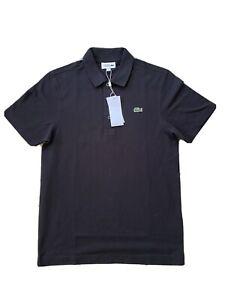 LACOSTE Mens Black Slim Fit Polo Shirt Medium M