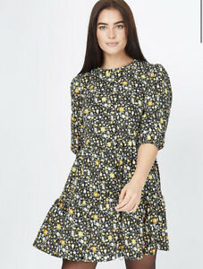 George Bnwt Ditzy Ochre Floral Tiered Dress Size 16