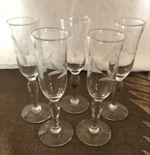 Vintage Mid Century Etched Cordial Glasses (5)