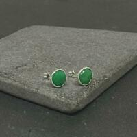 925 Sterling Silver Natural Emerald Gemstone Women Handmade Jewelry Earrings