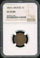 """1864 With """"L"""" Indian Head Cent NGC VF 25 BN *Better Date Bronze Cent!*"""