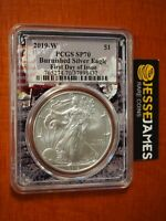 2019 W BURNISHED SILVER EAGLE PCGS SP70 FIRST DAY OF ISSUE FDI LABEL APOLLO CORE