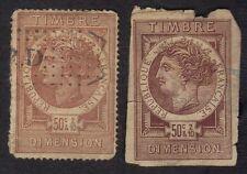 France 1885 Dimension Revenues Fiscals Imperfs Lot Of 2 Timbre de Dimension