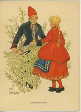 VINTAGE SWEDISH SWEDEN COSTUME BOY GIRL GARDEN FENCE LITHOGRAPH ART CARD PRINT