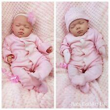 Reborn Baby Girl Doll, Sleeping little girl Rosie 18 inch HANDMADE by UK Artist