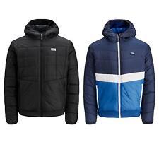 Jack & Jones Mens Quilted Puffer Jacket Warm Hooded Zip Up Outwear Coats
