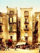 Vintage photographie couleur teinte tenement bátiment Naples Italie Poster lv4912