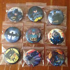 Lot of 9 Batman Badges #2 - 3cms diameter - for loot bags party favours