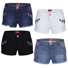 Ladies Denim Shorts Stretchy Distressed Hot Pants Designer Half Pants