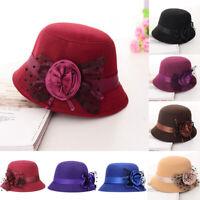 Women Ladies Vintage Imitation Wool Flower Felt Hat Winter Cloche Bucket Cap Hat