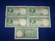 Loy of 5 Bank Notes from Greece 50 Drachma Issued 1939