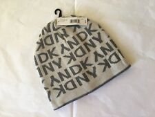 DKNY Donna Karen New  York  Cap  Hat  Knit  Beanie Beanies Man Ivory Grey NWT