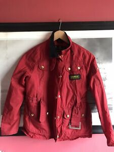 Barbour Red Waxed Jacket Age 10/11 Read Description