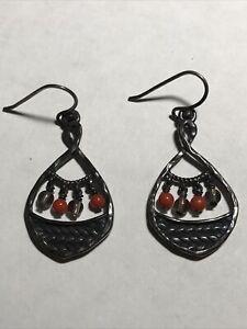Silpada Sterling Silver Coral  Smoky Quartz Bead Oxidized  Earrings W2220