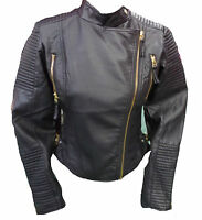Womens Ladies New Black Cropped Leather GOLD Zip Quilted Biker Jacket/Coat 8-14