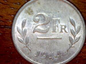 Belgium 2 Francs 1944 Coin~Allied Occupation WW2~Zinc 2.75g~KM#133~XF