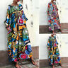Long Shirt Floral Print Kaftan Dress Plus Size Tops Maxi Women Oversize