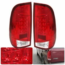Red Lens Chrome Housing Led Rear Lamp Tail Light For 1997-2003 Ford F150 F250