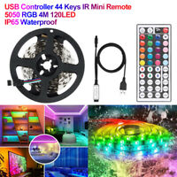 5050 RGB LED Strip Lights Room Bar TV Back Lighting Kit DC 12V USB Power 1M-5M