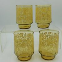 4 Footed Tumbler Juice Glass Tactile Amber Yellow Flowers Amber MCM Vintage