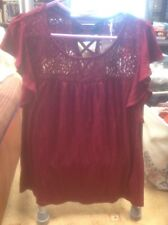 👚❤️❤️❤️Authentic @ BHS SIZE 12(40) Dark Red Lacy DAY/ Evening 👚 Top  -BNWT