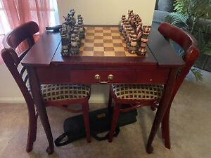 Solid Wood 4-in-1 Chess/Checkers/Backgammon Combo & Table w/ Chairs
