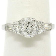 14k White Gold 2.00ctw GIA Cushion Diamond Engagement Ring w/ Half Moon Baguette