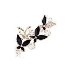 18K ROSE GOLD PLATED & GENUINE CUBIC ZIRCONIA & BLACK ENAMEL BUTTERFLY BROOCH