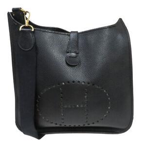 HERMES H Logo Evelyn 1 GM Cross Body Shoulder Bag Leather Black France 82BU127