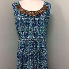 Faded Glory 1X Blue Purple Boho Ikat Print Wood Beads Long Womens Maxi Dress 16W