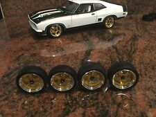 1/18 SCALE MODEL MODIFIED 5 SPOKE RDM WHEELS IN NEW RDM GOLD