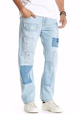 NWT TRUE RELIGION Sz30 GENO RELAXED SLIM N/FLAP SUPER T JEANS PATCHED DENIM $399