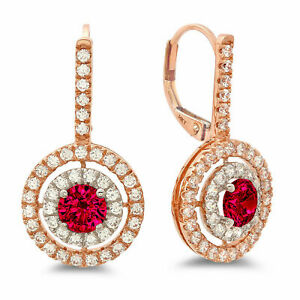 2.4ct Round Halo Simulated Ruby 18k White Pink Gold Earrings Lever Back